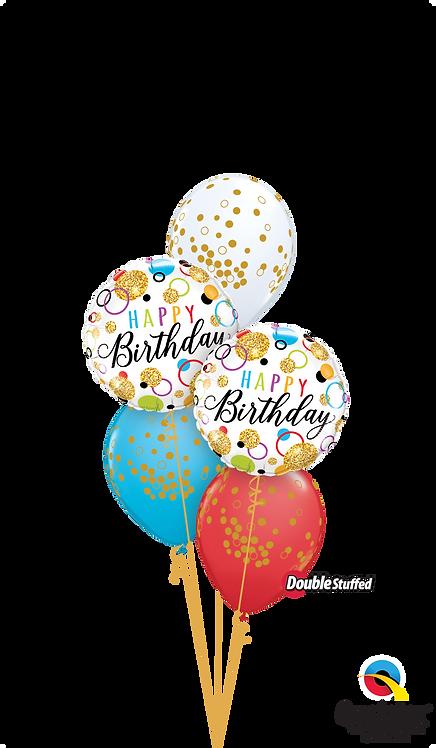 Classic Confetti Balloon Bouquet - Rainbow Glitter Dots Birthday