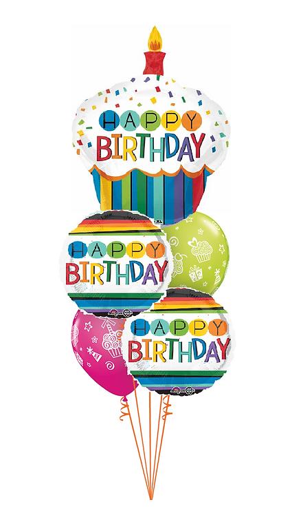 Cheerful Balloon Bouquet - Rainbow Cupcake Birthday