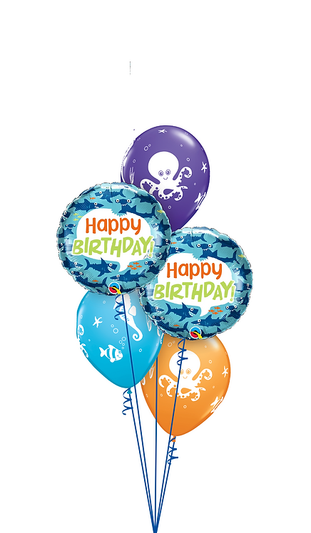 Classic Balloon Bouquet - Wishing You a Fin-tastic Birthday!
