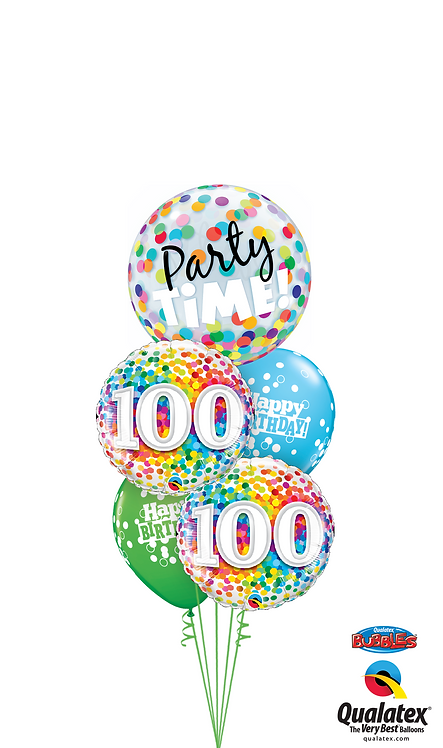 Cheerful Bubble Balloon Bouquet -  100th Birthday Time Party Time