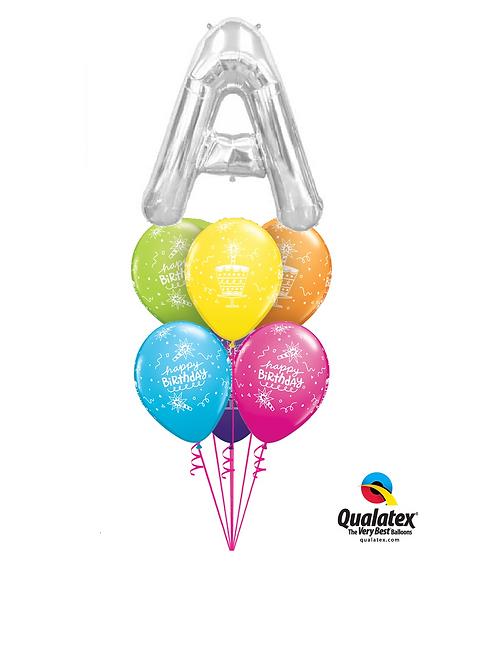 Monogram Birthday Balloon Bouquet - Silver