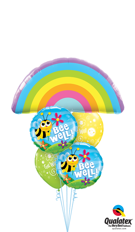 Cheerful Balloon Bouquet - Rainbows, Bumble Bees & Flowers