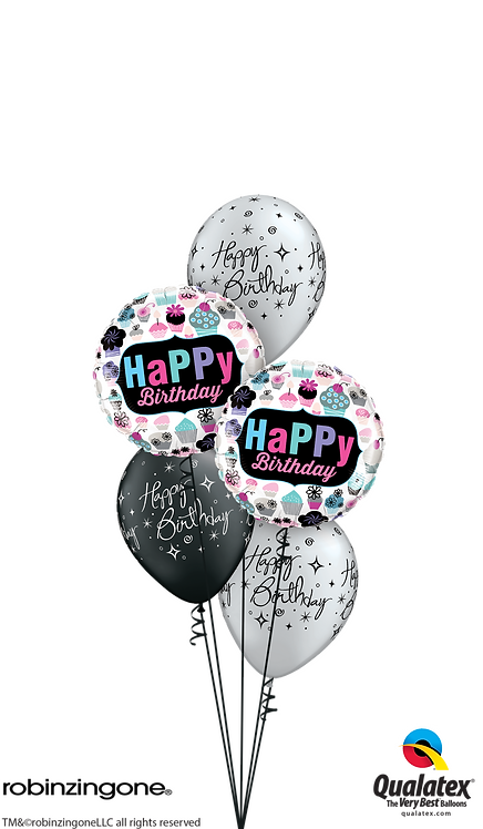 Classic Balloon Bouquet - Birthday Cupcakes, Stars & Swirls