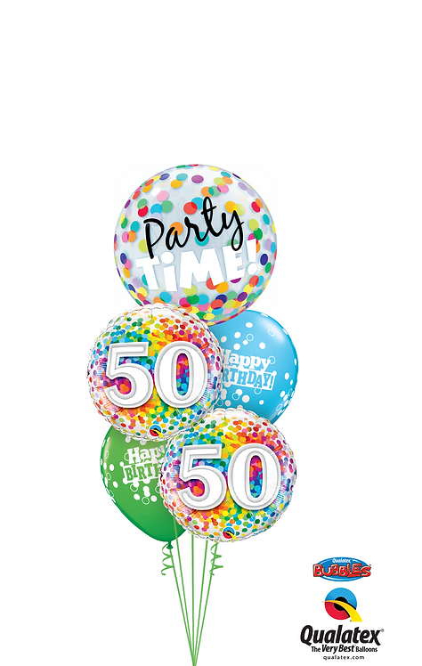 Cheerful Bubble Balloon Bouquet -  50th Birthday Time Party Time