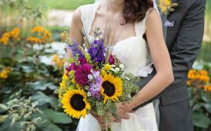 Sunflower and Stocks Bridal Bouquet