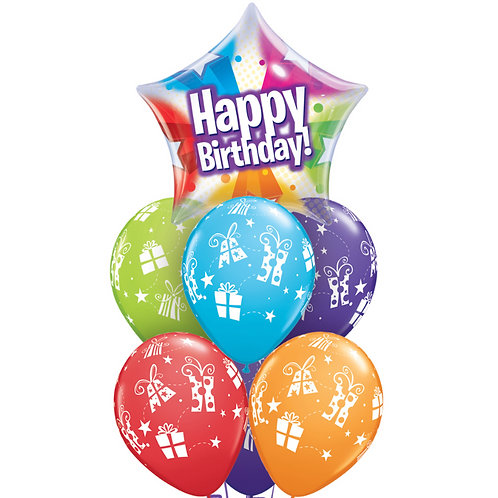 Bubble Balloon Bouquet - Happy Birthday Star