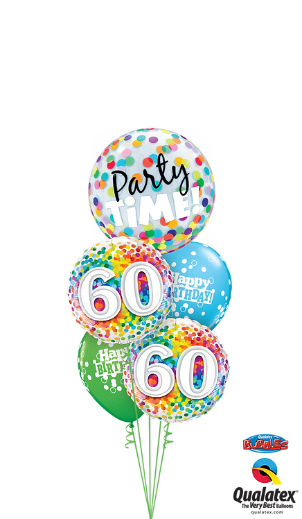Cheerful Bubble Balloon Bouquet - 60th Birthday Time Party Time