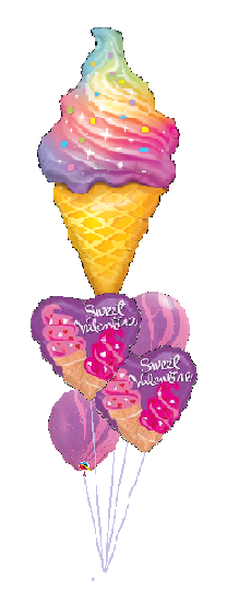 Cheerful Balloon Bouquet - Sweet Ice Cream Valentine