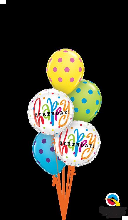 Classic Balloon Bouquet - Happy Birthday Polkadots