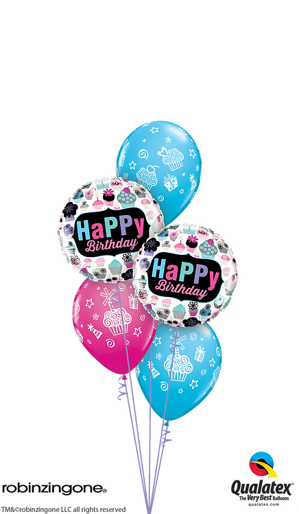 Classic Balloon Bouquet - Birthday Cupcakes Galore!