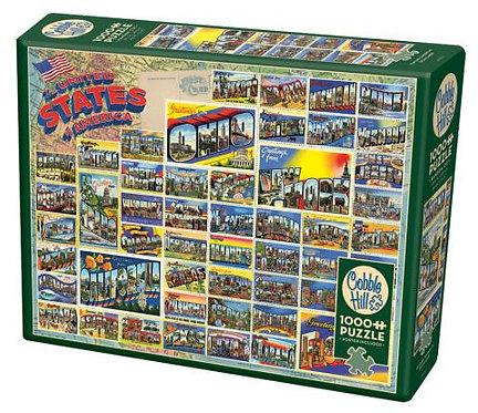 Vintage American Postcards 1000pc Cobble Hill Jigsaw Puzzle
