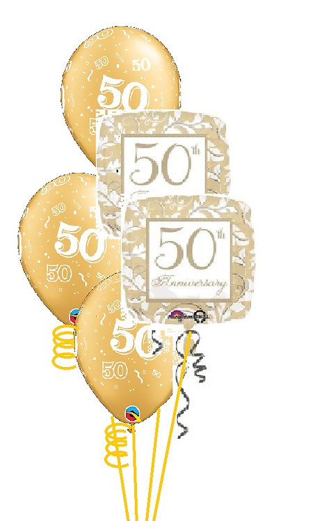 Classic Balloon Bouquet - 50th Anniversary