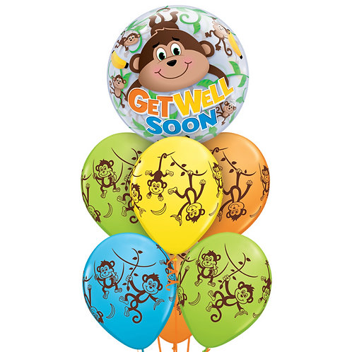 Bubble Balloon Bouquet - Get Well Soon Monkey