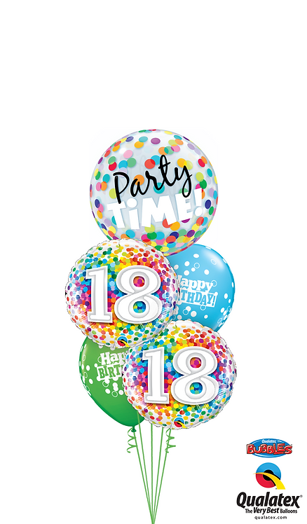 Cheerful Bubble Balloon Bouquet -  18th Birthday Time Party Time