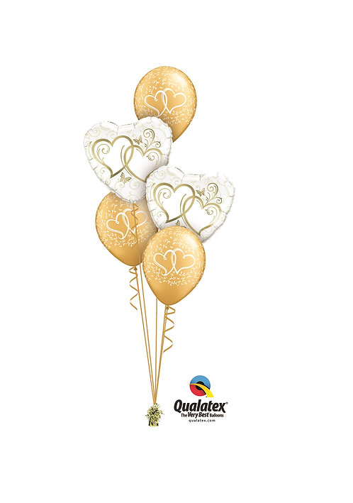 Classic Balloon Bouquet - Golden Hearts Entwined