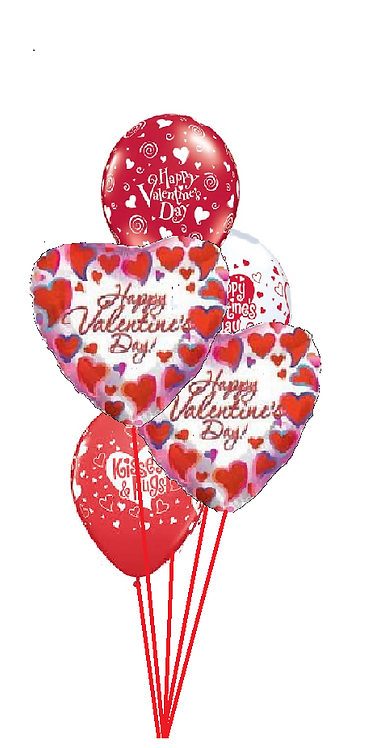 Classic Balloon Bouquet - Hearts Galore