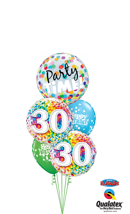 Cheerful Bubble Balloon Bouquet -  30th Birthday Time Party Time