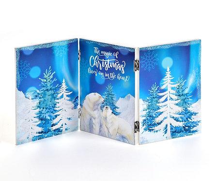Christmas Blue Folding Screen Décor