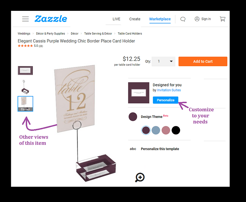 Table Card Holder example in Zazzle.PNG