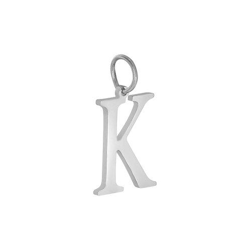 """K"" Charm - Zilver"