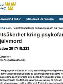 Riksdagsledamot vill att psykiatrin skall granskas