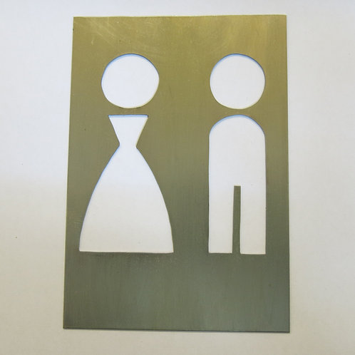 A19 - toilet sign , brass