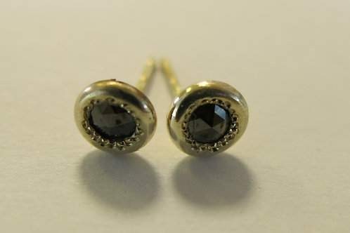 E12 - 14K Gold & Black Diamonds