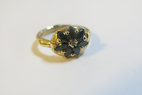 R14 - 14K Gold & Black Diamonds