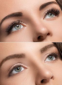 Female face comparison after eyelash ext