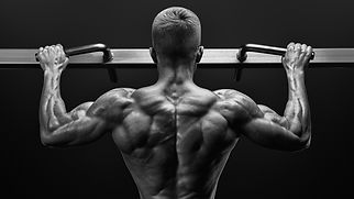 Black and white image of power muscular