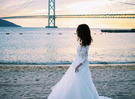 アジュール舞子 明石海峡大橋の見えるビーチで前撮り