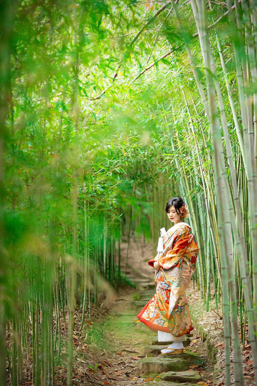 竹林と色打掛