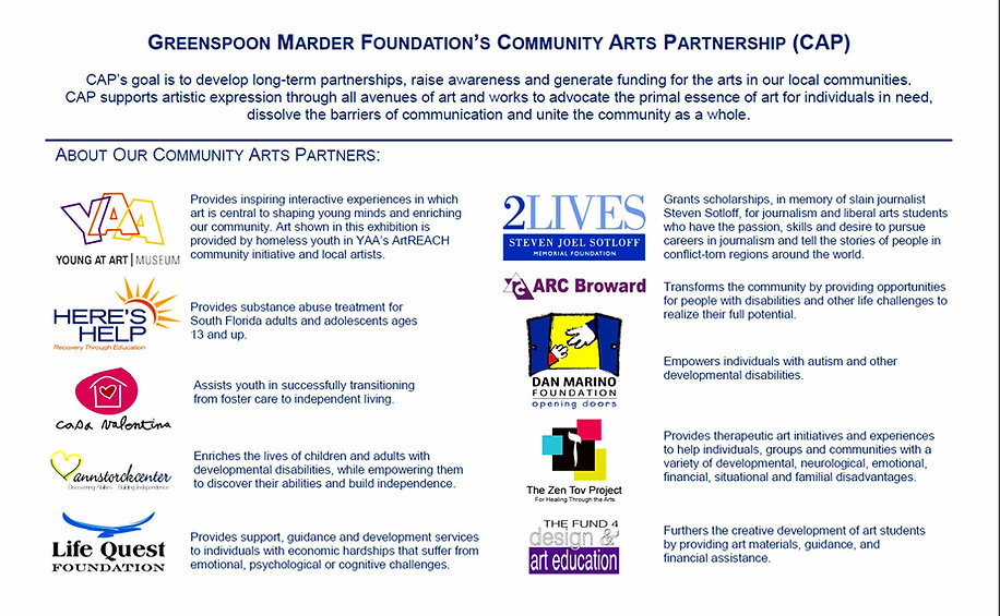 Greenspoon Marder Foundation, The Zen Tov Project, Tracy Ellyn, 2 Lives Foundation, Steven Sotloff, Tracy Ellyn, Young At Art Museum, Casa Valentina, Here's Help, Dan Marino Foundation, Fund 4 Design & Art Education, Life Quest, Miami