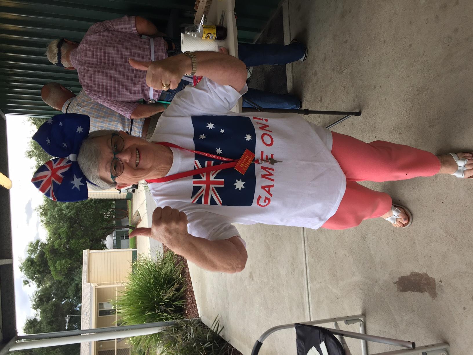 Bronte in her Australian gear