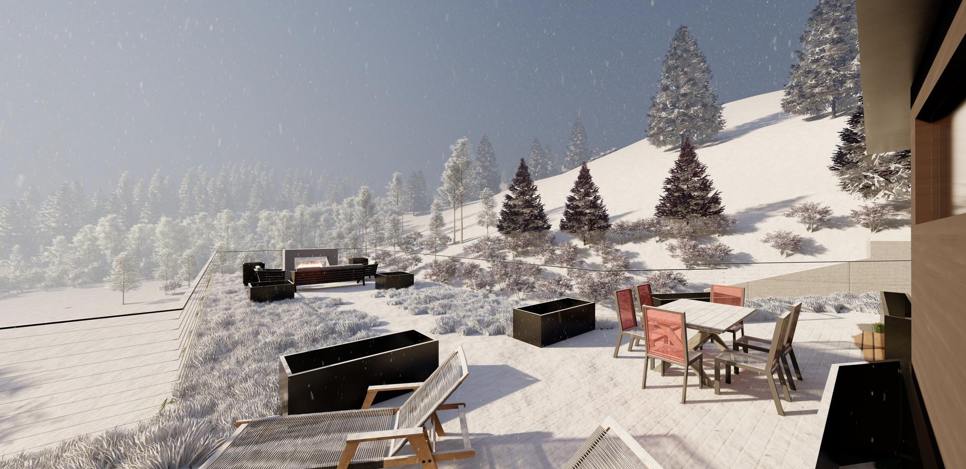 Creekside Terrace - Roof Deck in Snow.jp