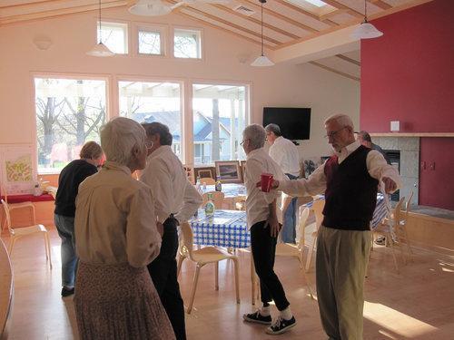 Senior dance party in community living