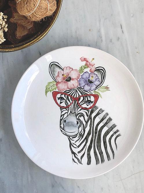 Crown Çini Boyama Tabak - 25 cm Zebra