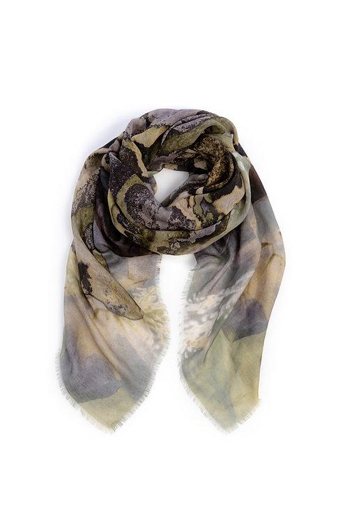 HEART OF ACE Foulard ART BLOOM Khaki - Modal /Linen / Silk Blend