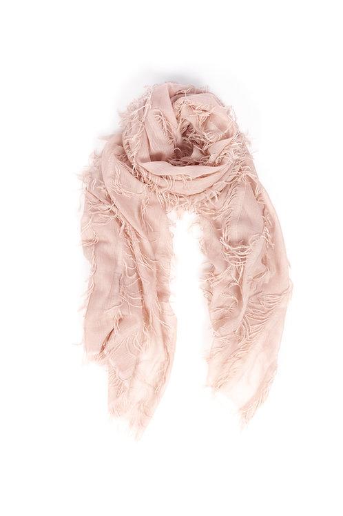 HEART OF ACE Cashmere Fransen Schal -  pastel rosa