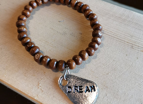 Wooden Bracelet with Charms