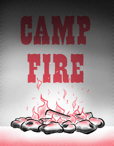 Camp Fire risograph zine front cover