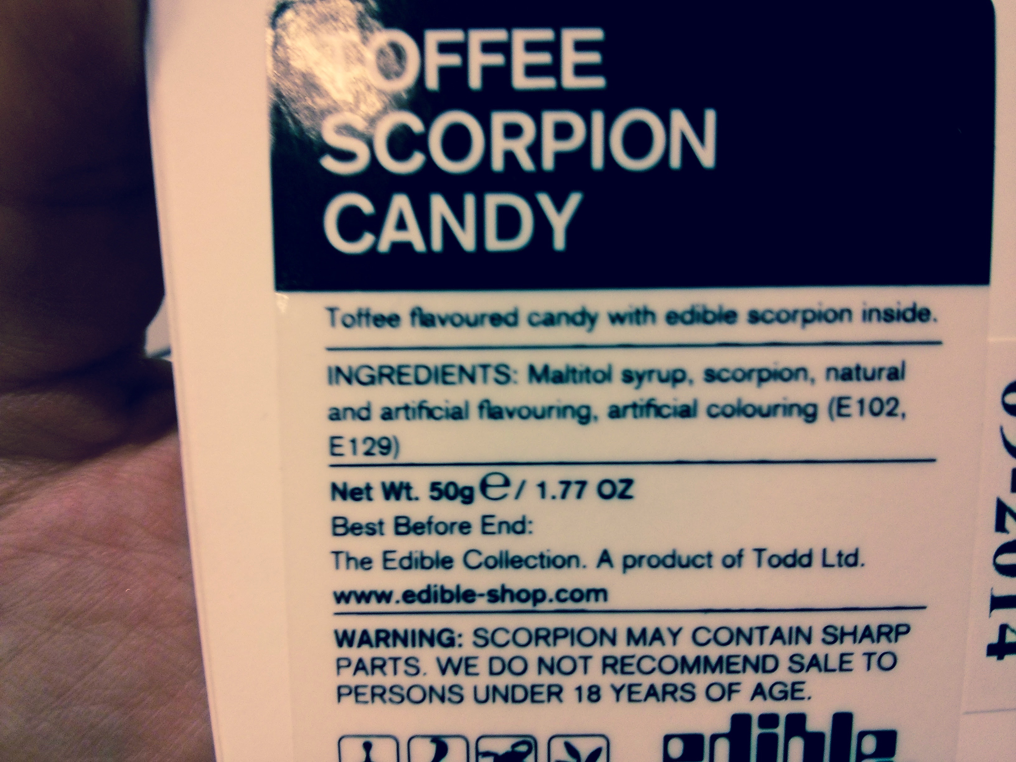 Toffee Scorpion Candy