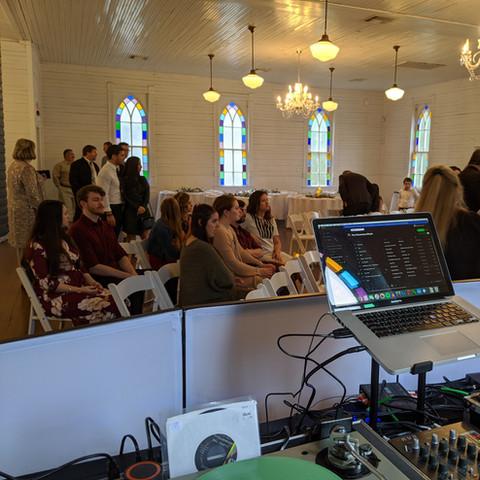 Wedding DJ Set-Up at Mercury Hall, Austin, TX March 2020