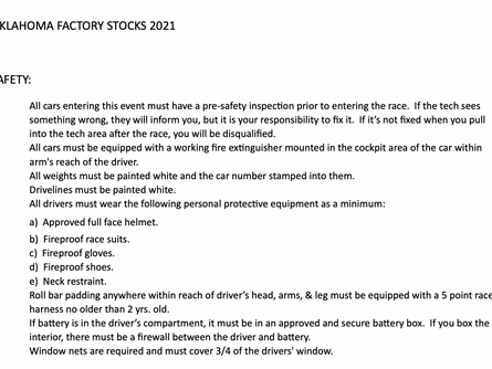 Oklahoma Factory Stock Rules