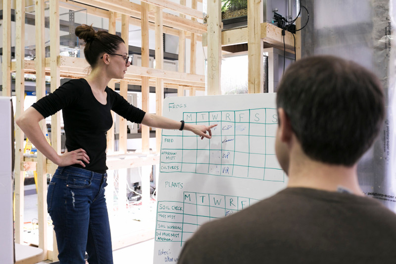 Mulher mostrando cronograma de tarefas