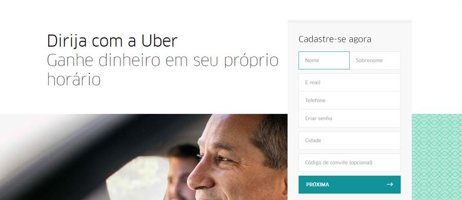 Cadastro Uber, preencha as informações