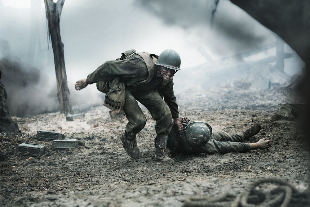 Doss rescues another soldier in the film, 'Hacksaw Ridge'