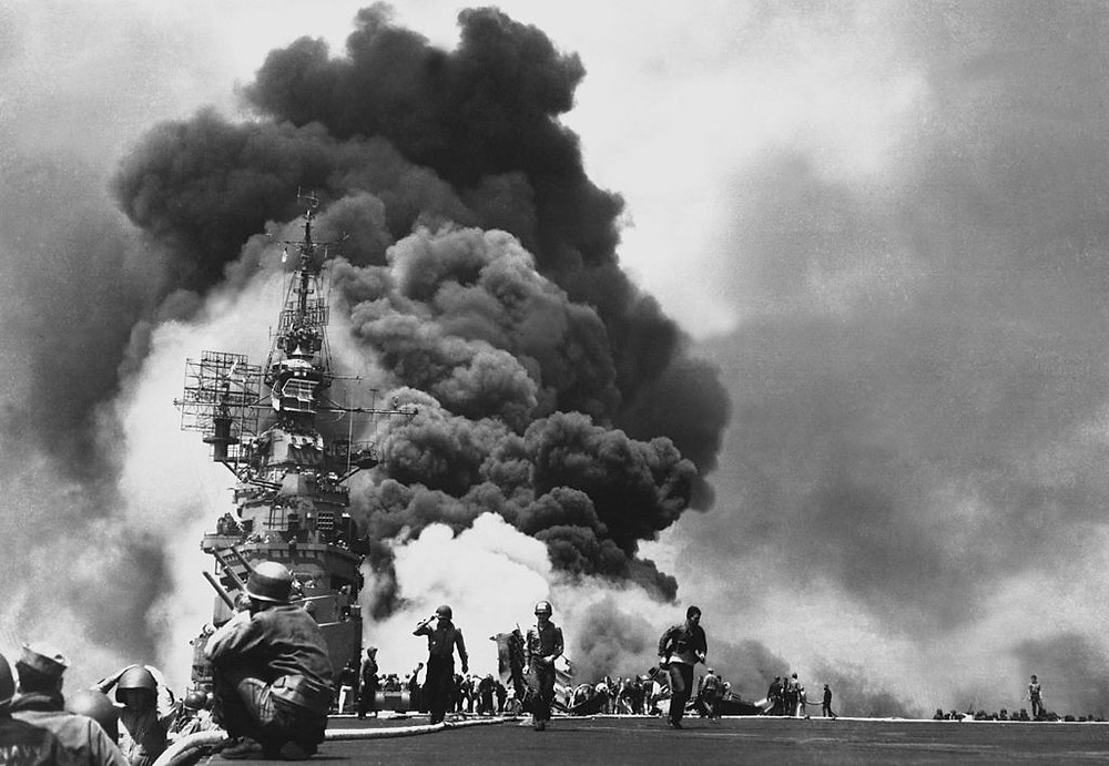 The USS Bunker Hill burns during the Pacific War in 1945