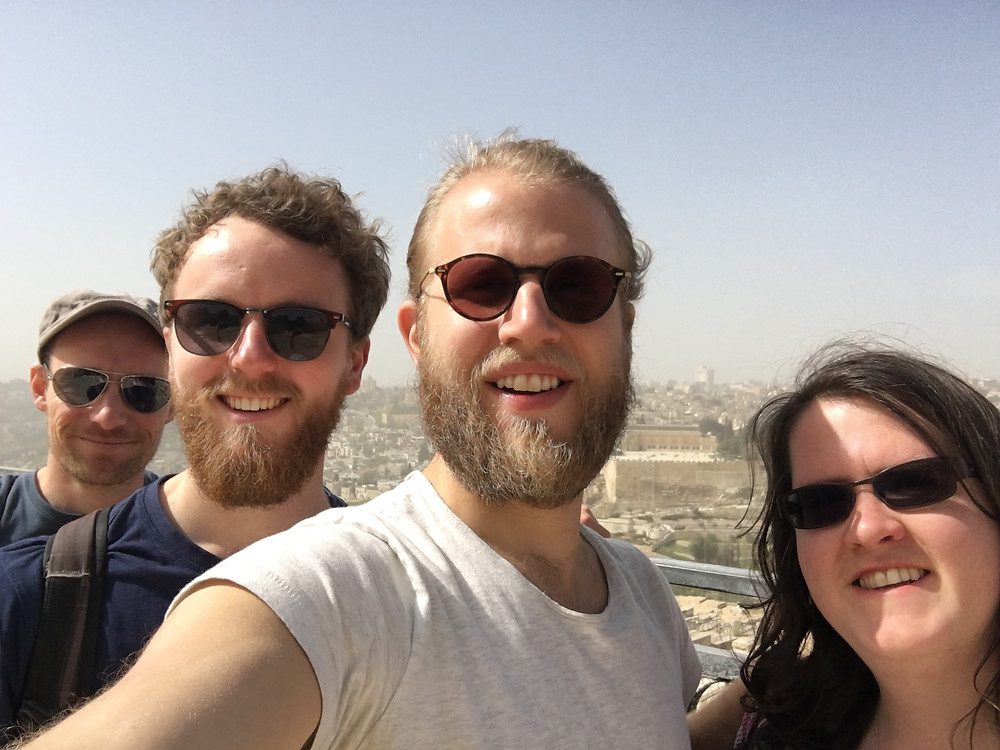 From right to left, Dan Morrice, Dan Coe, Daniel Abrahamsson and Louise Glenn on the Mt of Olives