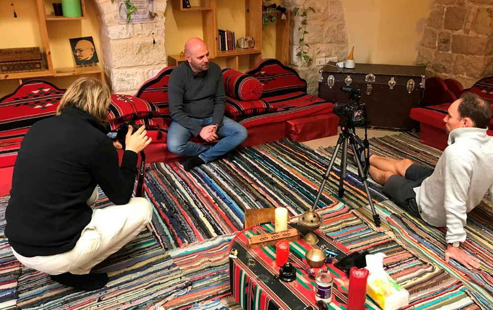 Sami Awad from the Holy Land Trust in Bethlehem shares his story with Dan and friends